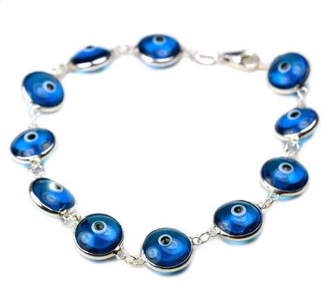 Sterling Silver & Glass Evil Eye Bracelet-transparent blue