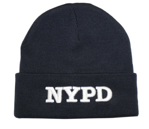 NYPD Winter Hat New York Police Department Navy & White One Size