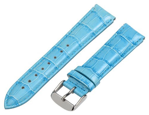 Clockwork Synergy - 18mm x 15mm - Sky Blue Croco Grain Leather Watch Band fits Philip stein Small