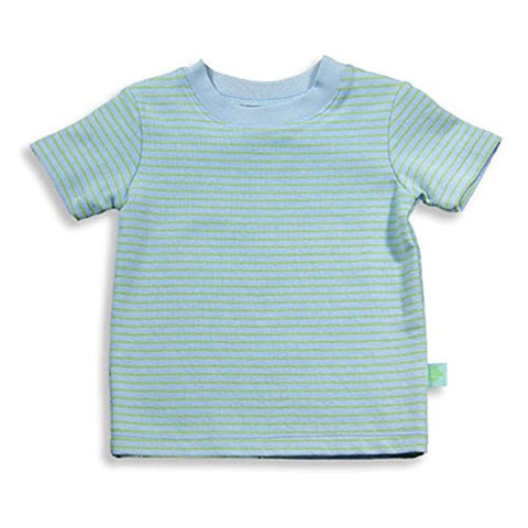Pepper Toes Layette by Baby Lulu - Baby Boys Short Sleeve Striped Top, Blue, Celery 17034-6Months