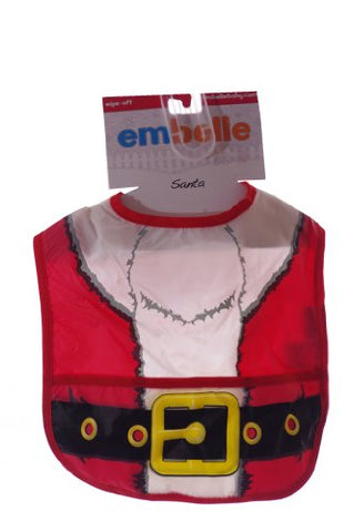 Embelle Santa Claus Wipe Off Bib with Food Catcher