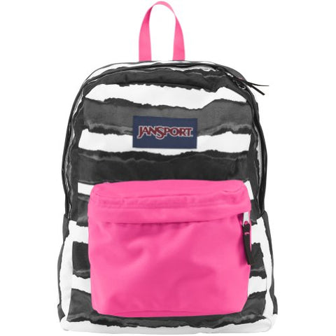 JanSport Superbreak Backpack - Black Wide Dye Stripe / 16.7H x 13W x 8.5D