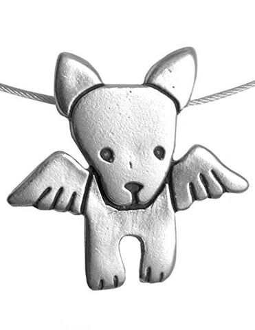 Angel Dog American-Made Sterling Silver Charm Necklace with 16  Nylon-Coated Steel Cord