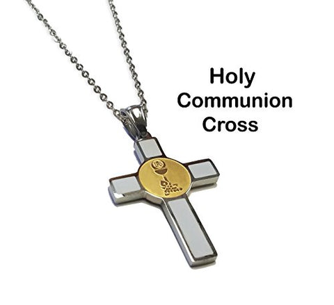 Unique First Communion Cross - Two Tone Gold and Silver Color Stainless Steel Communion Eucharist Symbol Cross Necklace