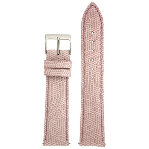 20mm Watch Band Genuine Leather Lizard Grain Pink Quick Release Built-in Pins
