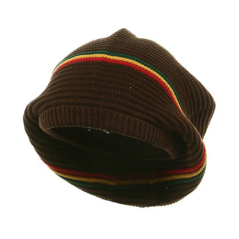 Medium Crown New rasta Beanie Hat - Brown RGY OSFM