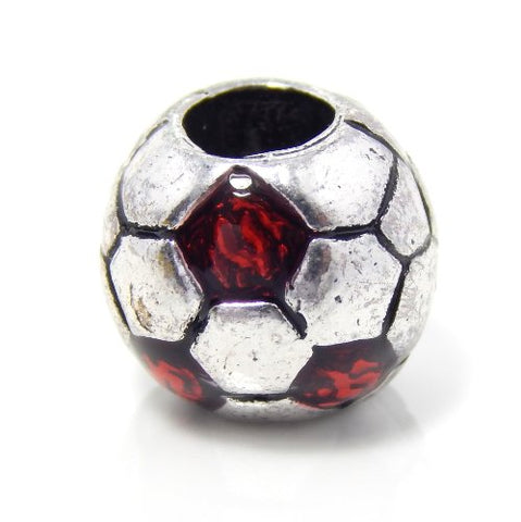 Jewelry Monster Silver Finish  Red Enamel Soccer Ball  Charm Bead for Snake Chain Charm Bracelet