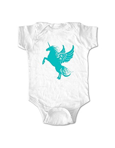 Unicorn graphic baby one piece bodysuit infant clothing (6 months, White)