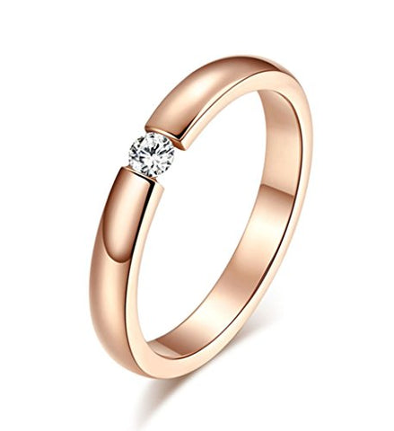 Women's Stainless Steel Single CZ Cubic Zirconia Ring for Wedding Engagement,Rose Gold Plated,3mm,Size 6