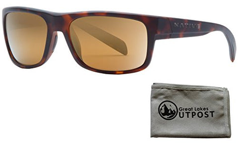 Native Eyewear Ashdown, Matte Dark Tortoise Sunglasses with Bronze Reflex Lenses and Cloth