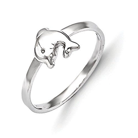 Sterling Silver Rhodium Plated Child's Polished Dolphin Ring - Size 3
