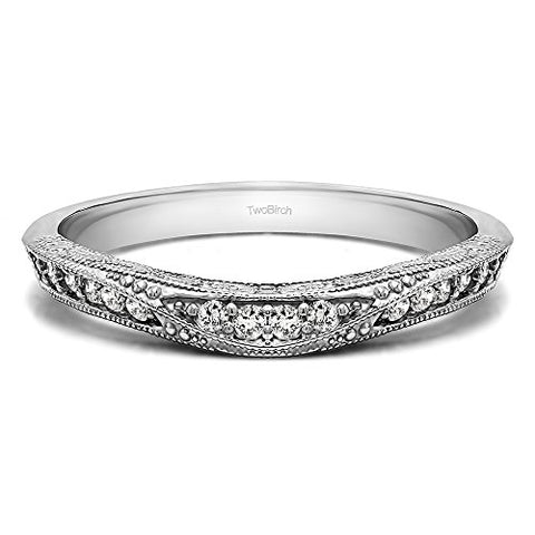 0.18Ct Vintage Filigree Wedding Band In Sterling Silver Cubic Zirconia(Size 3 to 15 in 1/4 Size Intervals)