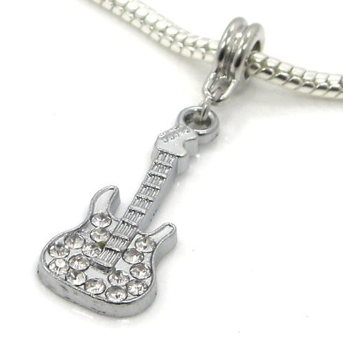 Jewelry Monster Silver Finish  White Crystal Rhinestone Guitar  Charm Bead for Snake Chain Charm Bracelet 10356