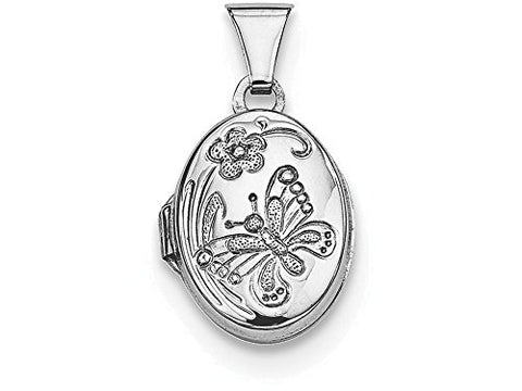 Sterling Silver Butterfly Oval Locket Necklace