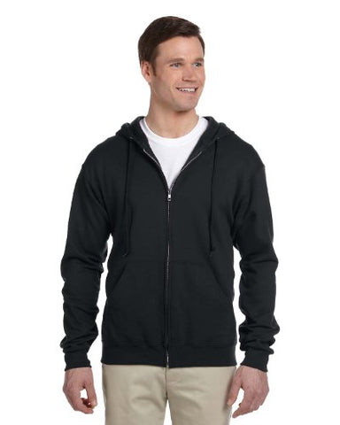 Jerzees mens 8 oz. 50/50 NuBlend Fleece Full-Zip Hood(993)-BLACK-2XL