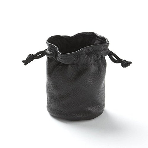 Drawstring Pouch - Full Grain Leather - Black Onyx (black)