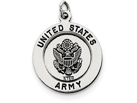Sterling Silver Antiqued Saint Michael Army Medal Pendant Necklace w/Chain