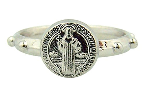 Protection from Evil Saint Benedict Medal Zinc Alloy Rosary Ring - Size Large