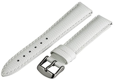 18mm x 15mm Leather Classic Lizard White Interchangeable Watch Band Strap Fits Philip Stein Small