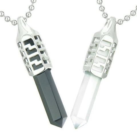 Love Couple Secret Positive Energy Yin Yang Simulated Onyx White Simulated Cats Eye Pendant Necklaces