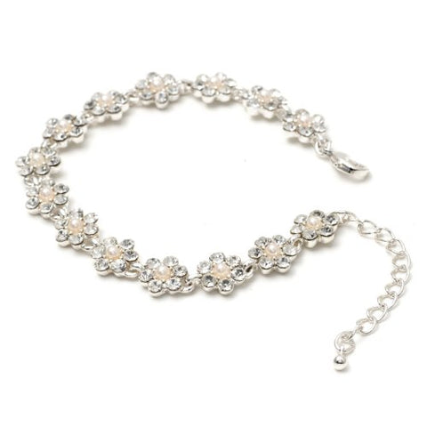 Silver Crystal Rhinestone Flower Shaped with White Pearl Link Bracelet