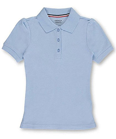 French Toast Big Girls'  Top Marks  S/S Pique Polo - blue, 10/12