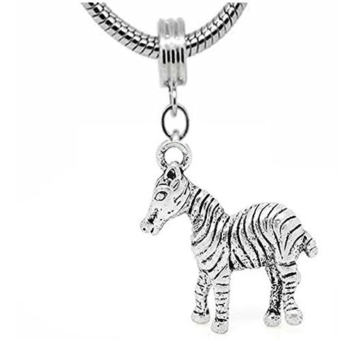 Zebra Dangle Charm Beadfor snake Chain charm Bracelet.
