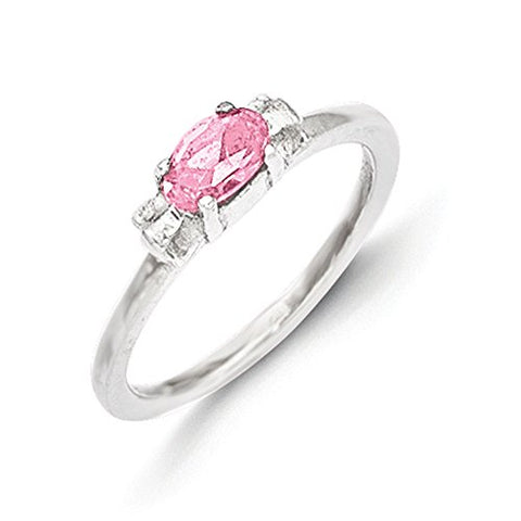 Sterling Silver Pink Cubic Zirconia Candy Kid's Ring - Size 3