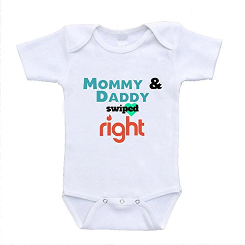 Mommy and Daddy Swiped Right Tinder Parody Funny Baby Bodysuits (3-6 Months)