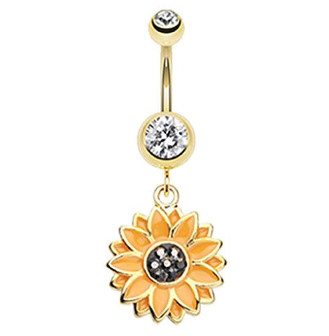 Golden Beach Sunflower 316L Gold Plated Steel Freedom Fashion Belly Button Ring (Sold Individually)