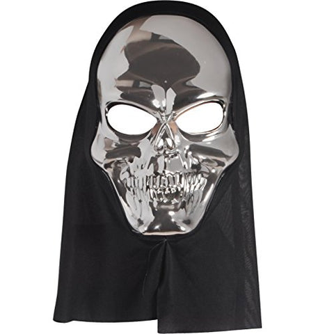 Star Power Adult Reflective Hooded Skull Face Mask, Silver, One-Size