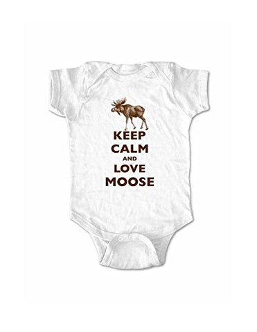 Keep Calm and Love Moose baby one piece bodysuit (18 Months, White)