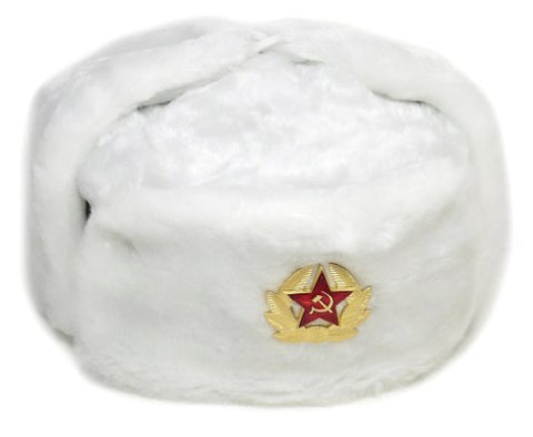 White Russian Soviet Winter Hat  Ushanka  with Military Removable Badge