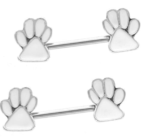 Nipple Ring Bars Paw print Jewelry Pair 14g Body Accentz