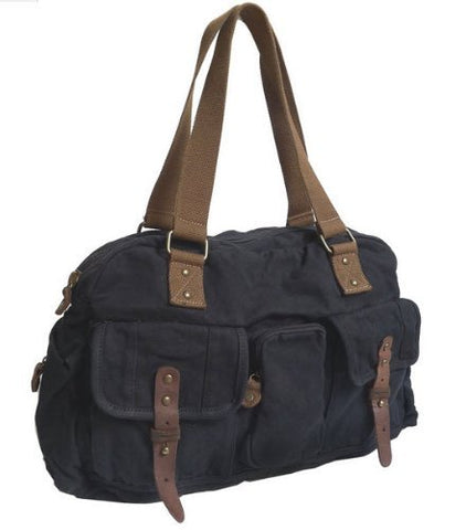 Virginland  Weekender 2  Medium Vintage Canvas Duffel Bag - Black