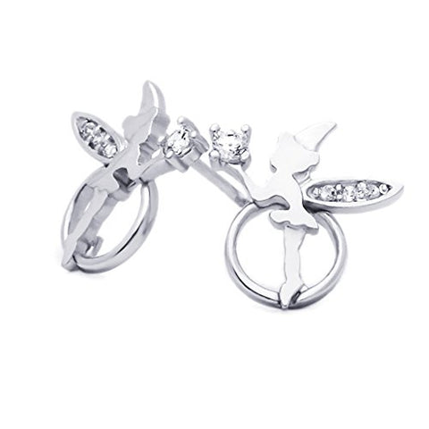 Sterling Silver Rhodium Plated Angel CZ Stud Screwback Earrings