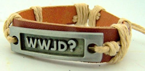 Silver Toned Base WWJD Plate on Cord and Leather Bracelet for Teen, 8 Inch