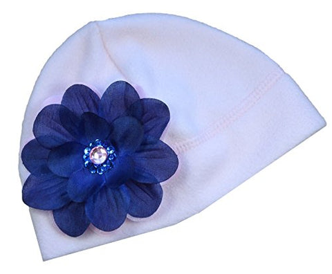 Fleece Baby Winter Hat with Jojo Silk Flower (Pink and Navy Blue)