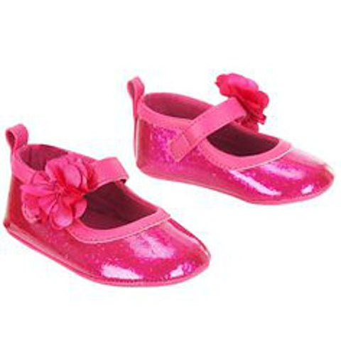 Koala Baby Girls' Glitter Covered Soft Sole Mary Jane Shoes (Pink, Size 2)