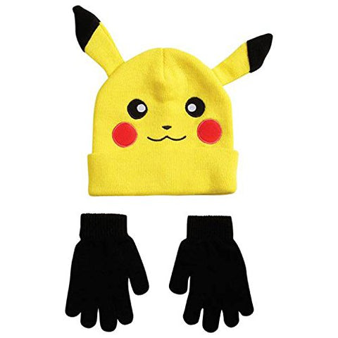 Novelty Pokemon Pikachu Ear Youth Beanie With Black Mittens