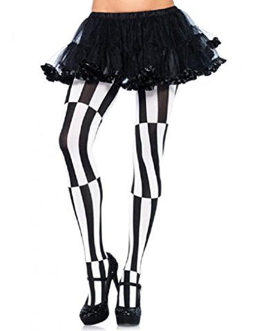 Optical Illusion Striped Pantyhose - Black and White