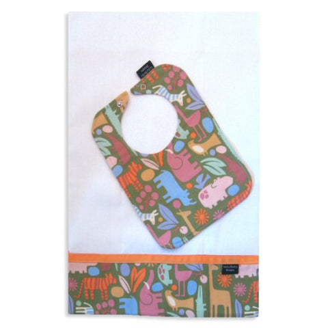 Zoo Safari Bib and Burp Cloth Set