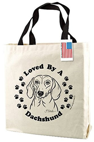 Dachshund Dog Print Canvas Tote Bag with Handles