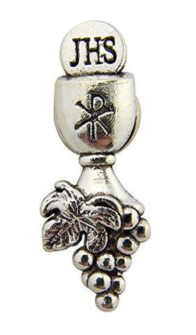 Silver Tone Chalice with Chi Rho Cross Lapel Pin, 1 1/2 Inch