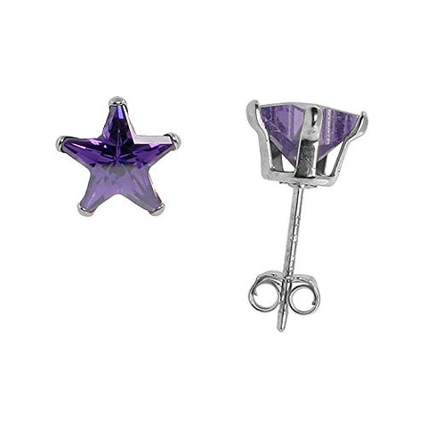 Sterling Silver Cubic Zirconia Stud Earrings 7 mm Star Shape Amethyst colored