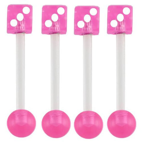 14g 14 gauge 5/8 inch 16mm acrylic tongue bars nipple barbell rings balls pink dice lot AIDZ Piercing 4Pcs