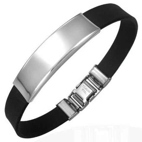 Personalized Stainless Steel Id Bracelet with Black Rubber- Free Engraving
