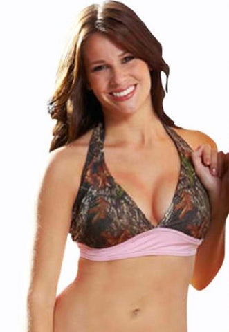 Ladies Mossy Oak Breakup Camo with Pink Trimmed Halter Top (LARGE)