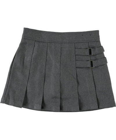 French Toast Big Girls' Two Tab Pleated Skirt - Grey - 4