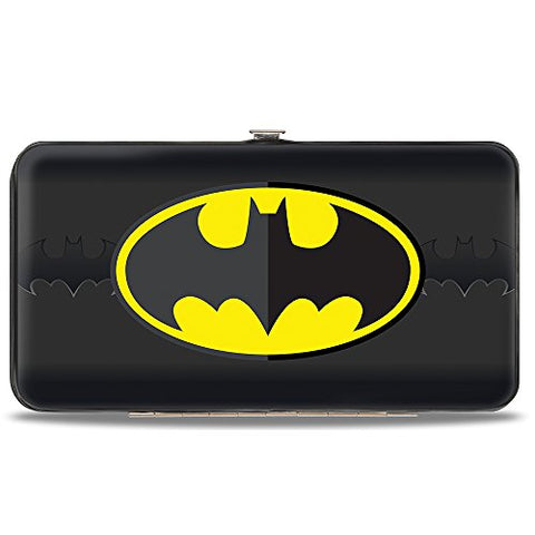 Hinged Wallet - Batman Icon Centered/Bat Signal Stripe Black/Yellow/Grays